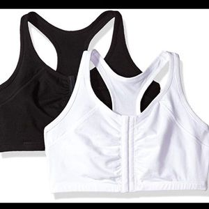 TWO fruit of the loom front closure racerback bras